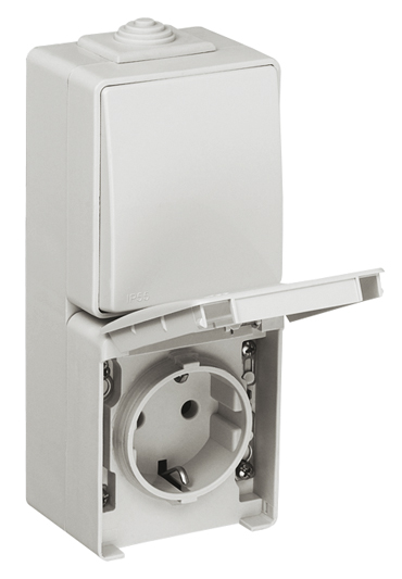 Two-way Switch + Earth Socket (Schuko Type) in a Double Vertical Base