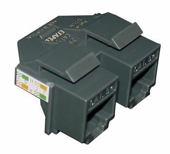 Double RJ45 Cat. 5e UTP Connector (1 input / 2 outputs)