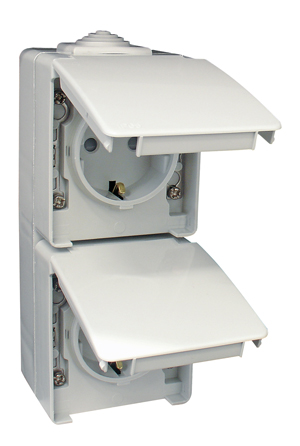 Two Safety Earth Socket (Schuko Type) in a Double Vertical Base