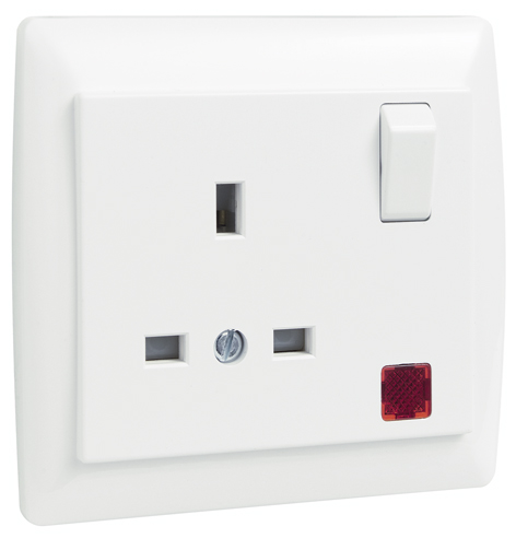 Earth Socket (British Type) with Switch and Pilot Lamp